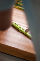 slice green garlic lengthwise