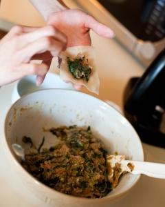 open mandu with filling