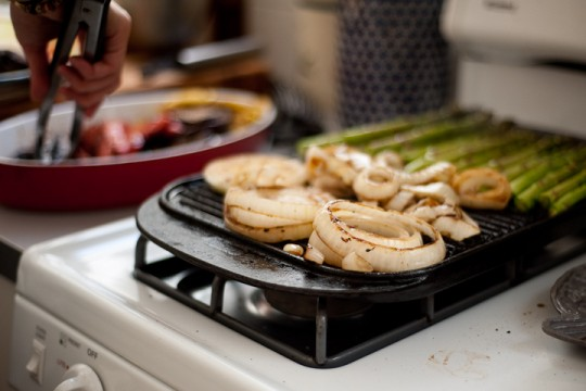 vegetables on stovetop grill
